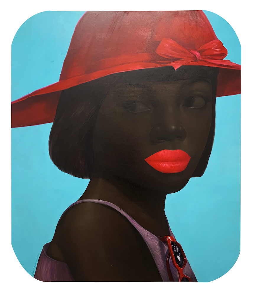 Lady and a Red Brimmed Hat